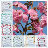 fleurs de cerisier achat en gros de-6 couleurs environnement 2.3m fleurs artificielles artificielles fleurs de cerisier sakura canne vigne artificielle pour le mur de décorations de mariage monté