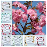 kiraz süslemeleri toptan satış-düğün süslemeleri duvar için 6 Renkler 2.3m çevre yapay kiraz yapay çiçekler çiçeği sakura kamışı yapay asma monte