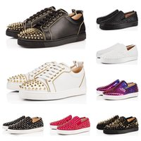 Wholesale black shining shoes for men for sale - Group buy Designer fashion luxury Red Bottoms Studded Spikes Flats shoes For Men Women black Shining Party Lovers casual Sneakers sale online