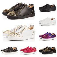 обувь для шипов онлайн оптовых-Роскошная дизайнерская мода Red Bottoms Шипованная Шипы Плоская подошва Обувь Для Мужчин Женщин черный Сияющий Любители вечеринок Повседневные кроссовки продажа онлайн