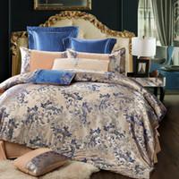 Wholesale red satin bedding set comforter resale online - Home Textile King size bed set Fashion pure satin silk bedding set Jacquard bedclothes duvet cover flat sheet pillowcases