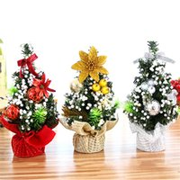 Wholesale office table lights for sale - Group buy 2018 New Holiday Christmas Tree Flower Mini Desktop Table XmasTree Decoration Party Ornament for Indoor Home Office Kids Gifts