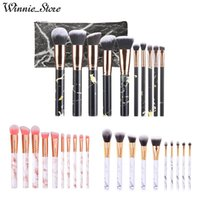 Wholesale factory direct wholesale hair for sale - Factory Direct DHL Free Marble Makeup Brush Set Professional Portable Face and Eyeshadow Powder Foundation Makeup Tools with Bag