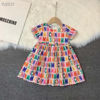 art und weisehäkelarbeitbabykleid groihandel-2020 Frühlings-Sommer-Mädchen gedruckte kleidet Kinder Art und Weise Singlet Kleid ärmellos Brief Kinder Einzelhandel Kleidung