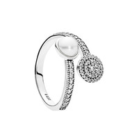 Wholesale white diamond pearl resale online - White Crystal Pearl Clear CZ Diamond Sterling Silver RING Set Original Box for Pandora Luminous Glow Ring Women Girls Wedding Jewelry
