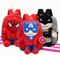 Wholesale plush fabric backpack resale online - 3D The Avengers Plush Backpacks Toys for kids New Ironman Superman Spiderman doll plush schoolbag mochila kids bags