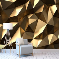 Wholesale deep decors for sale - Group buy Custom large mural D wallpaper Modern creative D expansion space golden solid geometric wall TV wall decor deep D embossed
