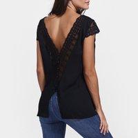 düğme bluzları kısa kollu toptan satış-Dantel Geri Bluz Kadınlar Seksi Backless Düğmeler Kısa Kollu Şifon Gömlek Lady V Boyun Yaz Üstleri Artı Boyutu # 10