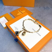Wholesale box chain gold fine for sale - Group buy Stainless Steel gold beads chain Bracelet with letter design luxury style Gold buckle bracelets for women men fine jewelry with gift box d09