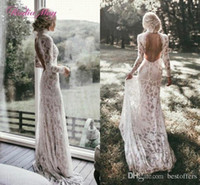 Wholesale sexy beach lace wedding dresses mermaid for sale - 2019 White Long Sleeve Mermaid Wedding Dress Vintage Sexy Backless High Neck Boho Beach Bohemian Bridal Gown Custom Made BC2028