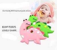 bebek oyuncakları diy toptan satış-20 adet Bebek Silikon Dişlikleri BPA Ücretsiz Diş Çıkarma Oyuncak Dinozor Köpek Kaktüs Fil unicorn dondurma Bebek Halka Diş Kaşıyıcı Silikon Boncuk DIY Zinciri