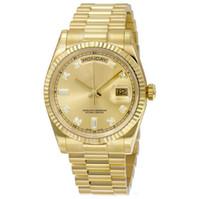 смотреть дни оптовых-Высокое качество оптом часы DAY DATE механическое скольжение гладкие 40 мм мужские королевские дубы часы из нержавеющей стали ободок ремешок наручные часы