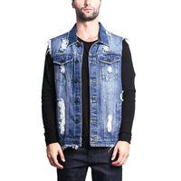ripped denim vests men fashion streetwear Man Waistcoat Vest jacket sleeveless gilet homme hip hop