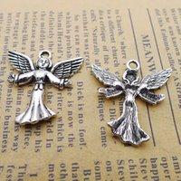 ingrosso ornamenti di fata dell'angelo-120 pz 24 * 25mm Antico tibetano Argento angelo fata ciondoli per il braccialetto pendenti in metallo lega vintage fai da te monili che fanno ornamento