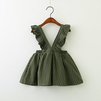bebek kızı etek toptan satış-2019 Bahar Genel Etek Kız bebek için Fırfır Kollu Kayış elbise V Yaka Çizgili etek Butik
