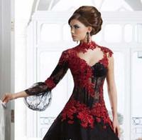 ingrosso vestito da mascherare vittoriano-Vintage nero e rosso vittoriano gotico Masquerade sera e abiti di sfera abito 2019 Keyhole collo alto manica lunga abito da ballo Plus Size