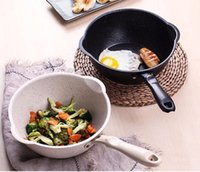 Wholesale woks for sale - Group buy Thickened Bottom Medical Stone Frying Pan Multifunction Non stick Pans Deep Nougat Pot Big Mouth Wok Pan with Glass Cover Cooking Tools
