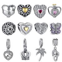 eski kalp kronu toptan satış-Fit Pandora Bilezik Vintage Kanat Boncuk 925 Gümüş Taç Hollow Altın Kalp CZ Ağacı Charm Genç Kız DIY Takı Yapımı