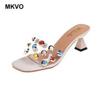 прозрачные шлепанцы оптовых-2019 Summer Women Transparent surface Slippers Offbeat Rivets Modern Design Chunk High Heel Slip on Peep Toe Ladies Flip Flops