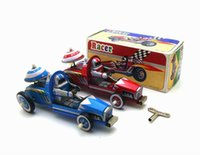 Wholesale vintage wind toys for sale - Group buy Funny Adult Collection Retro Wind up toy Metal Tin F1 racing racer sports car Clockwork toy figures model vintage toy gift