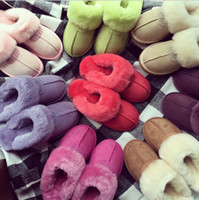 Wholesale home slippers women warm for sale - Group buy Fur Slippers Colors Winter Women Warm Indoor Slippers Soft Leather Boot Wool Lady Home Shoes Pair OOA6065