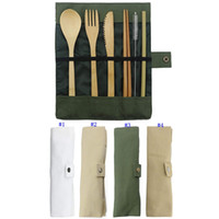 Wholesale soup knife resale online - Wooden Dinnerware Set Bamboo Teaspoon Fork Soup Knife Catering Cutlery Set with Cloth Bag Kitchen Cooking Tools MMA2512