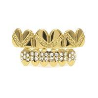 dientes de diamante de cristal al por mayor-Diamond Dental Grills Hip Hop Dientes de cristal Grills Top Bottom Set Grill Jewelry para el partido Envío gratis