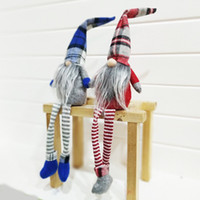 handgefertigte figuren großhandel-Ornamente Geschenke Kids Xmas 2 Styles Buffalo Plaid Weihnachtspuppen Figuren Handmade Christmas Gnome Faceless Plush Gnomes für die Dekoration