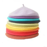 Wholesale handmade knitted hat adult resale online - Fashion Handmade Cute Wool Beret Adult Autumn Winter Solid Color Women s Literary Minimalist Painter Hats Knitted Felf Berets