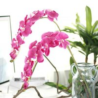 Wholesale butterfly branches resale online - For Decoration Party Silk Orchid Artificial Flower Heads Butterfly Orchid Flowers for Wedding Decoration Fake Flower Branch