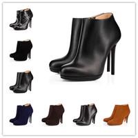 botas rojas de vestir de tacón alto al por mayor-Christian Louboutin Botas de tacones altos de lujo Suela roja Zapatos de vestir de cuero con plataforma inferior Sandalias de boca puntiaguda Zapatos de boda de diseño de marca
