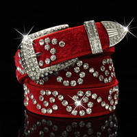 Wholesale belt flowers for sale - Group buy Fashion luxury designer super glittering diamond zircon flower white fur woman leather belt cm ft models