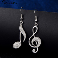 Wholesale music notes earrings for sale - Group buy Asymmetric Trendy Music Notes Earrings Personality Hook Crystal Silver Rhinestone Dangle Earring For Women Accessory Lady Jewelry Gifts