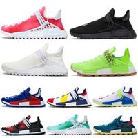 paixão das mulheres venda por atacado-Adidas NMD Human Race pharrell williams malha triplo preto homens sapatos mulheres running shoes sneakers o runner primeknit homem designer de desconto