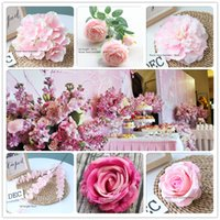 Wholesale artificial hydrangea wedding bouquets for sale - Group buy 20pcs Pink Color Artificial Flower Wedding Rose Peony Hydrangea Plant Bouquet Wedding Decoration DIY Home Fake Flowers