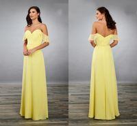 basit sarı şifon nedime elbiseleri toptan satış-Şaşırtıcı Off Omuz dökümlü Kol Sarı Gelinlik Modelleri Akşam Şık Resmi elbise 2020 Basit Şifon Kılıf Parti Abiye Ucuz
