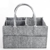 Wholesale eco baby diapers for sale - Group buy Baby Diaper bags Gray infant Diaper Tote Bag Portable Car Travel Organizer Felt Basket newborn Girl Boy nappy Storage bag ZZA1411