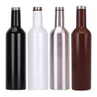 şarap şişesi seyahat toptan satış-750ml Vakum Şarap Şişesi Paslanmaz Çelik Flask Çift Duvar Yalıtımlı Bira Şarap Gözlük Seyahat Su Kupalar Çocuk Kupası 7 Renk Seçenekleri Şişe