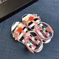 6f2156927b8bce 2019 Kız prenses ayakkabı ağır elmas çiçek sandalet ihale pembe siyah Yeni  moda Çocuk ayakkabıları C-G28