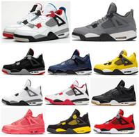 zapatos de baloncesto para hombres al por mayor-Alta calidad 4 ¿Qué The Cool Gray Loyal Blue Gum Negro baloncesto de los hombres Zapatos 4s Bred Sacador caliente Relámpago zapatillas de deporte con la caja