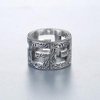 tasarımcı tarzı yüzükler toptan satış-Klasik Lüks Tasarımcı Çift Yüzük Ünlü Stil Kör İçin Aşk 925 Gümüş Parmak Yüzük Çiçek Kalp Yüzük Lover Düğün Takı G