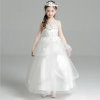 fe369e12356 Sleeveless Flower Fairy Children s Evening Dress Children s Princess Skirt  Peng Skirt Summer Lovely White Wedding Flower Child