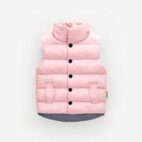 erkekler için rahat yelek toptan satış-1-6 yaş Yüksek kalite 2019 kış yelek rahat katı standı çocuk giyim giyim mont erkek bebek kız kalın yelek