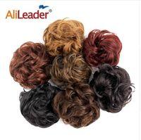Wholesale black women ponytail extensions for sale - Group buy Blonde Curly Fake Hair Bun Ponytail Extensions Short Hair Chignon Messy Donut Hair Drawstring Ponytail Black Woman PC