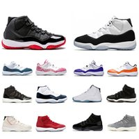 erkekler için cilt ayakkabıları toptan satış-Nike Air Jordan Retro 11 shoes Stock X Bred 11 11S Concord 45 Space Jam Snakeskin Men Basketball Shoes Heiress Gamma Blue Snake skin mens Sport Designer Sneakers Trainer