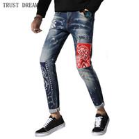 puntos de pintura jeans al por mayor-Italia Diseñado Hombre Pintado Dot Slim Jeans Hombres Emdroidery Patchwork Denim Pantalones Hombre Desgaste de la calle Quatliy Pantalones increíbles