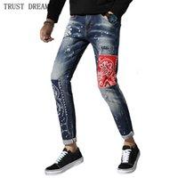 malen dots jeans großhandel-Italien entwarf Mann gemaltes Punkt-dünne Jeans-Männer Emdroidery Patchwork Denim-Hosen-männliche Straßenabnutzung Quatliy erstaunliche Hose