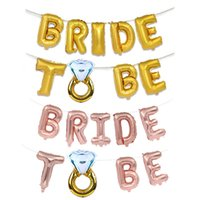 Wholesale antique rings online - Rose Gold Pink Aluminum Film Balloon Diamond Ring Pattern Decorate Bachelorette Party Ornament BRIDE TO BE Letter mxb1