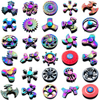 Wholesale superheroes toys resale online - Fidget Spinner Toys Newest Models Tri Fidget Metal Colorful EDC Gyro Superhero Dragon Rainbow hand spinners finger toy