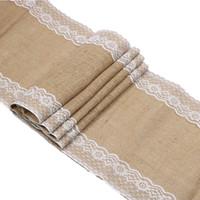 tischläufer textilien großhandel-2pcs rustikale Vintage Jute Sackleinen Tischläufer mit Spitze 12